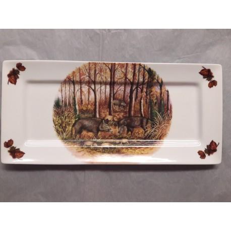 Plat à Cake ZEN en Porcelaine Décor GIBIER