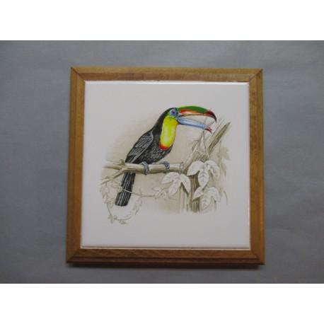 Dessous de Plat Contour Bois  Carreau Décor Oiseau Exotique