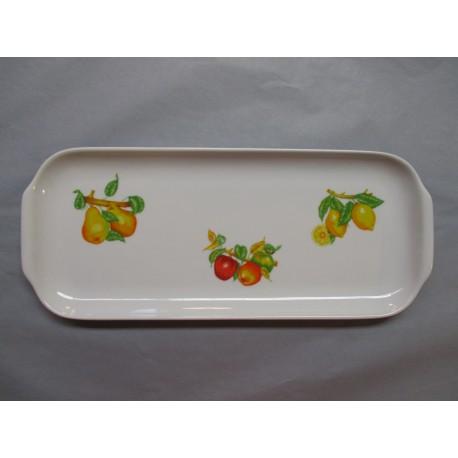 Plat à Cake en Porcelaine Décor Fruits