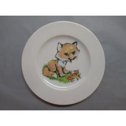Assiette Dessert en Porcelaine Enfant Décor Renard