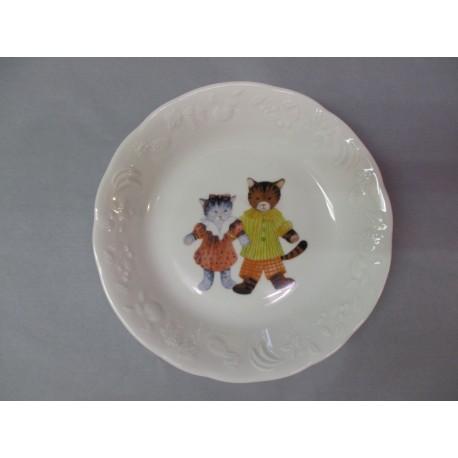 Assiette Calotte en Porcelaine Décor Enfant Chat