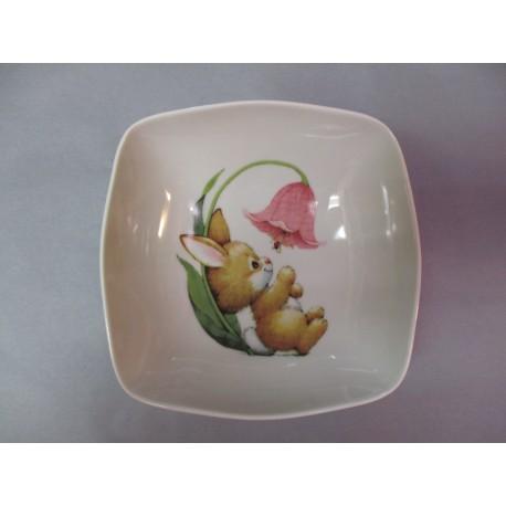 Assiette Calotte en Porcelaine Enfant Décor Lapin