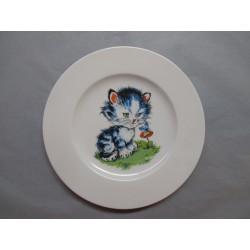 Assiette Dessert en Porcelaine Enfant Décor Chat Bleu