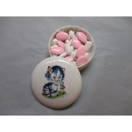 Petite Bonbonnière Fille ou Garçon Décor Chat Bleu