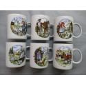 Coffret de 6 Mugs en Porcelaine Décor Paysanne