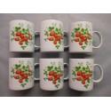 Coffret de 6 Mugs en Porcelaine Décor Fraise