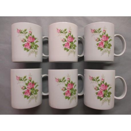 Coffret de 6 Mugs en Porcelaine Décor Rose