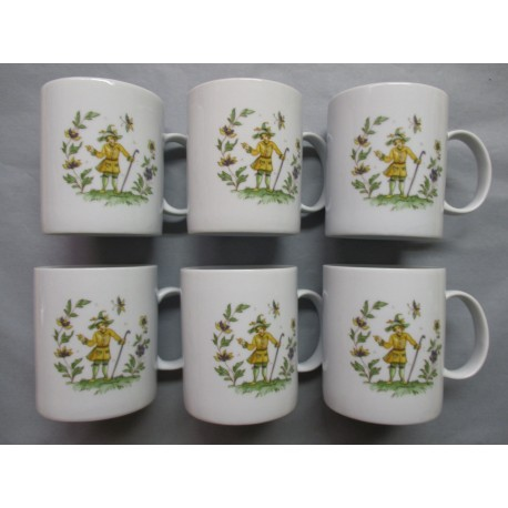 Coffret de 6 Mugs en Porcelaine Décor Moustier