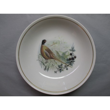 Plat Rond Creux en Porcelaine Décor Faisan