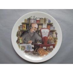 Assiette Murale en Porcelaine Décor L'Epicier