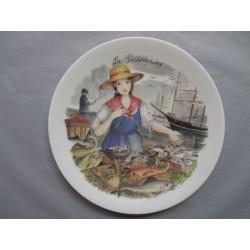 Assiette Murale en porcelaine Décor La Poissonnière