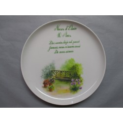Assiette Murale en Porcelaine Décor Noces d'Etain 10 Ans