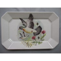 Grand Plat Rectangle Décor Pigeon