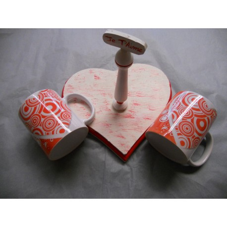 Presentoir en bois avec 2 Mugs
