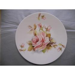 Plat à Tarte en Porcelaine Décor Rose